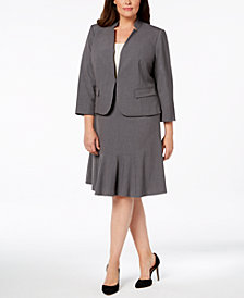 Nine West Plus Size Kiss-Front Blazer & Flare-Hem Skirt