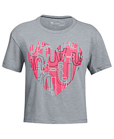 Under Armour Big Girls Charged Cotton® Heart Graphic-Print T-Shirt