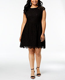 Kensie Plus Size Lace Fit & Flare Dress