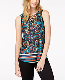 BCX Juniors' Printed Lace-Up Top