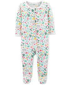 Carter's Baby Girls Floral-Print Thermal Footed Cotton Coverall