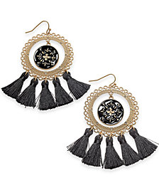 Thalia Sodi Gold-Tone Black Enamel Tassel Drop Earrings, Created for Macy's