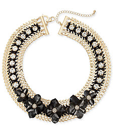 "Thala Sodi Two-Tone Crystal Flower Cord Woven 18"" Collar Necklace, Created for Macy's"