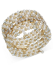 I.N.C. Gold-Tone Crystal & Imitation Pearl Coil Bracelet, Created for Macy's
