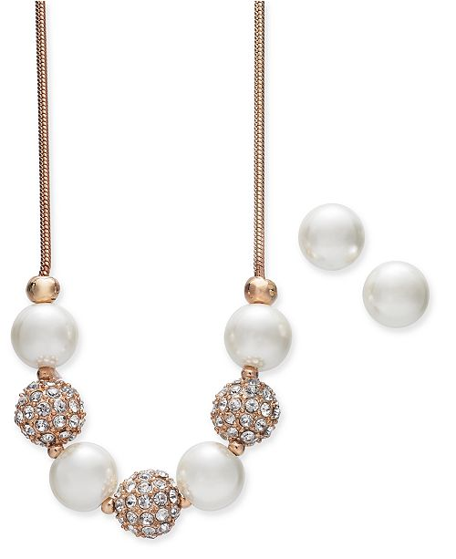 8ea9ddb213f55 Rose Gold-Tone Pavé Bead and Imitation Pearl Collar Necklace & Stud  Earrings Set, 17 + 2 extender, Created for Macy's