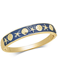 Charter Club Gold-Tone Enamel Shell & Starfish Hinged Bangle Bracelet, Created for Macy's