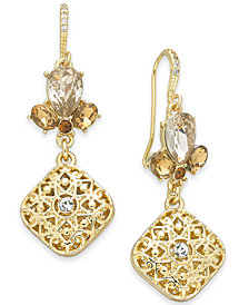 Charter Club Gold-Tone Crystal Filigree Drop Earrings, Created for Macy's