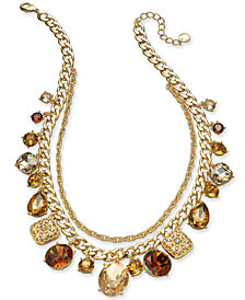 "Charter Club Gold-Tone Shaky Stone & Crystal Layered  Necklace, 18"" extender, Created for Macy's"