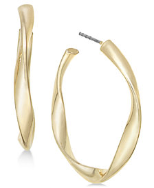 Charter Club Gold-Tone Twist Hoop Earrings, Created for Macy's