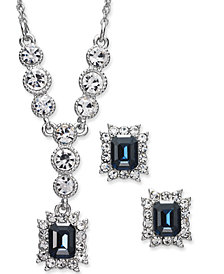 "Charter Club Silver-Tone Crystal and Stone Lariat Necklace & Stud Earrings Set, 17"" + 2"" extender, Created for Macy's"