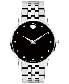 Men's Swiss Museum Classic Diamond-Accent Stainless Steel Bracelet Watch 40mm