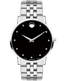 Movado Men's Swiss Museum Classic Diamond-Accent Stainless Steel Bracelet Watch 40mm
