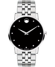 Movado Men's Swiss Museum Classic Diamond-Accent Stainless Steel Bracelet Watch 40mm