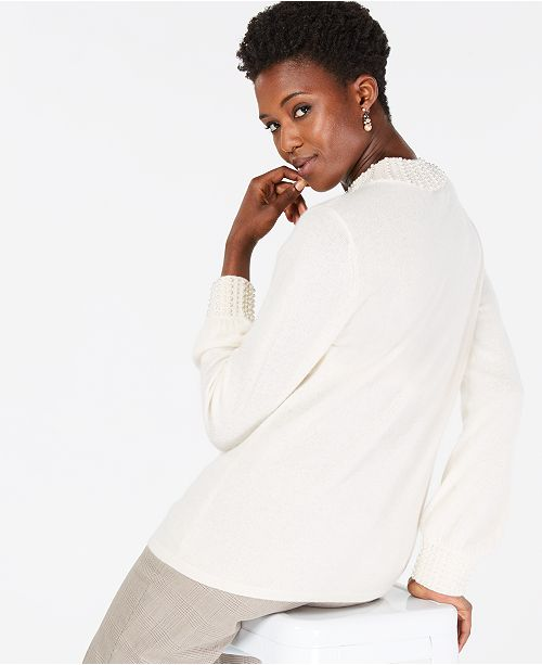 Faux-Pearl-Embellished Pure Cashmere Sweater, In Regular & Petite Sizes, Created for Macy's
