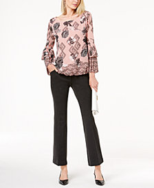 Alfani Printed Bell-Sleeve Blouse & Straight-Leg Trousers, Created for Macy's