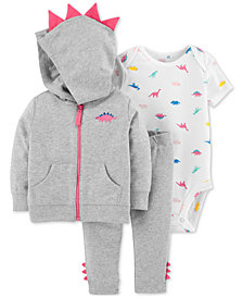 Carter's Baby Girls 3-Pc. Cotton Spikes Hoodie, Dinosaur-Print Bodysuit & Pants Set
