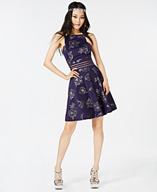City Studios Juniors' Glitter-Floral Scuba Fit & Flare Dress