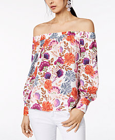 I.N.C. Petite Printed Off-The-Shoulder Top, Created for Macy's
