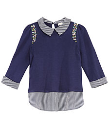 Monteau Big Girls Embellished Layered-Look Top