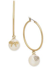 kate spade new york Gold-Tone Pavé & Imitation Pearl Hoop Earrings