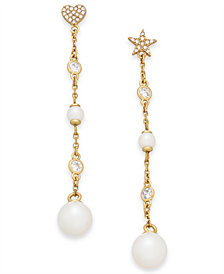 kate spade new york Gold-Tone Crystal & Imitation Pearl Mismatch Linear Drop Earrings