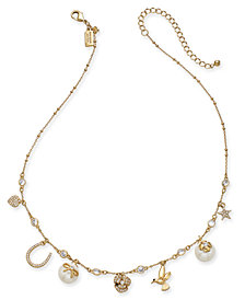 "kate spade new york Gold-Tone Crystal & Imitation Pearl Charm Necklace, 16"" + 3"" extender"