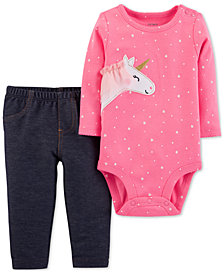 Carter's Baby Girls 2-Pc. Unicorn Bodysuit & Pants Set