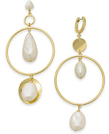 kate spade new york Gold-Tone Imitation Pearl Mismatch Chandelier Earrings
