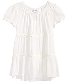 Kandy Kiss Big Girls Pearl-Trim Gauze Top
