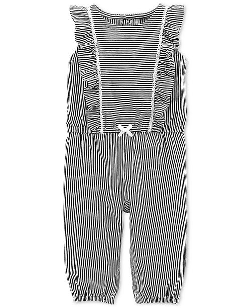 4356375aab03 Carter s Baby Girls Striped Ruffled Cotton Jumpsuit   Reviews - All ...