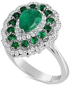 EFFY® Emerald (2 ct. t.w.) & Diamond (3/8 ct. t.w.) Ring in 14k White Gold