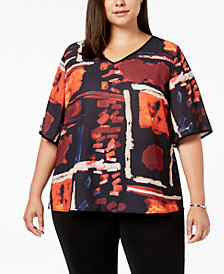 Joseph A Plus Size Printed V-Neck Top