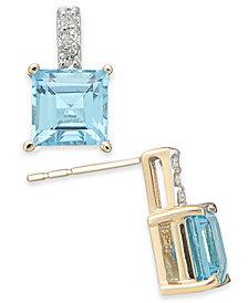 Blue Topaz (2-9/10 ct. t.w.) & Diamond Accent Stud Earrings in 14k Gold