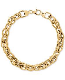 Interwoven Textured Link Bracelet in 14k Gold