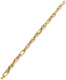 Polished Oval Link Bracelet in 14k Gold