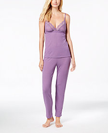 I.N.C. Ribbed Lace-Neckline Pajama Set, Created for Macy's