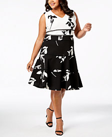 Taylor Plus Size Colorblocked Floral Fit & Flare Dress