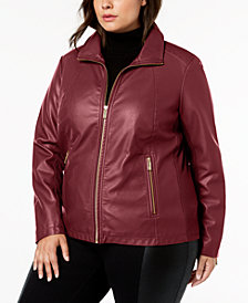 Kenneth Cole Plus Size Mixed-Media Moto Jacket