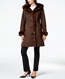 Jones New York Faux-Fur-Trim Coat