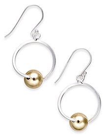 Giani Bernini Two-Tone Bead Circle Drop Earrings in Sterling Silver & 18k Gold-Plate, Created for Macy's