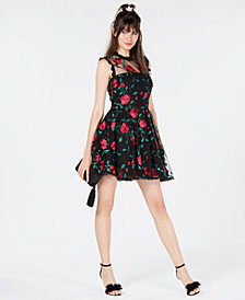 City Studios Juniors' Floral-Embroidered Illusion Dress, Created for Macy's