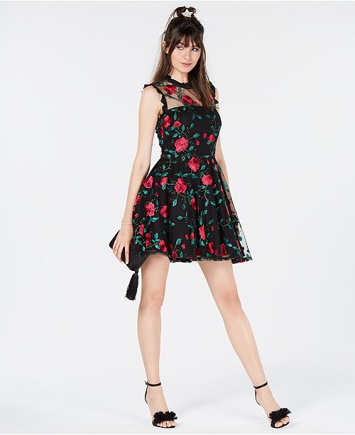 7d61f16e309b ... Created for Macy s  City Studios Juniors  Floral-Embroidered Fit    Flare Dress