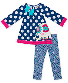 Rare Editions Baby Girls 2-Pc. Elephant Tunic & Leggings Set