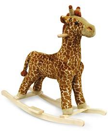 "Trademark Global Happy Trails Giraffe Plush Rocking Animal, 30"" x 18"" x 8"""