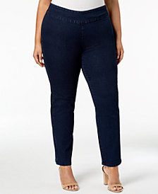 Charter Club Plus Size Stretch Denim Pull-On Jeans, Created for Macy's
