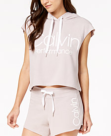 Calvin Klein Performance Logo Sleeveless Cropped Hoodie