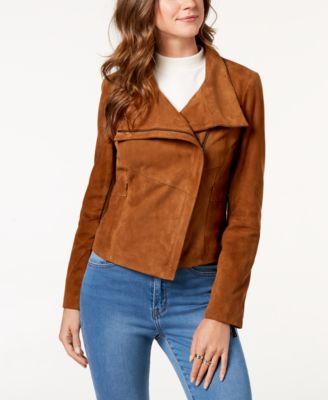 Asymmetrical Suede Moto Jacket