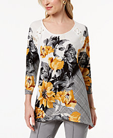 JM Collection Petite Mixed-Print Grommet-Trim Tunic, Created for Macy's