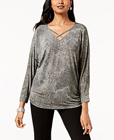 JM Collection Embellished Snake-Embossed Top, Created for Macy's