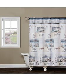 "Saturday Knight Bass Lake Printed 70"" x 72"" Shower Curtain"
